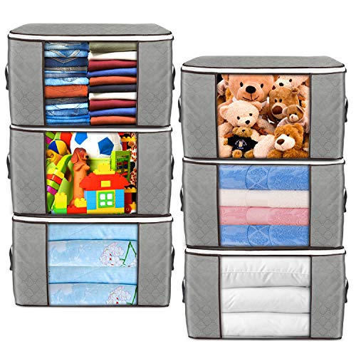 Large Storage Bags, 6 Pack Clothes Storage Bins Foldable Closet Organizers Storage Containers with Durable Handles Thick Fabric for Blanket Comforter Clothing Bedding 90L (6 Pack)