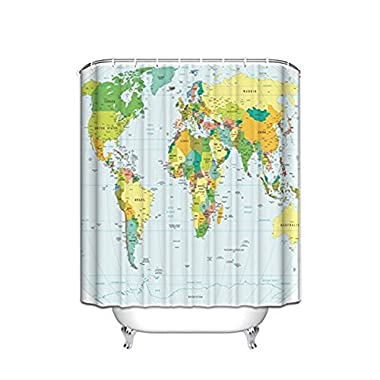 KAROLA Fashion Map of the World Shower Curtain with Detailed Major Cities Non-toxic and Odorless Water Repellent Fabric with Hooks 72x72IN