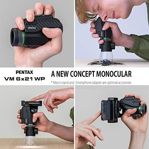 Pentax 63620 Monocular VM 6x21 WP Easy to use with just one hand Bright and clear view with high contrast and excellent optical performance Waterproof to 1m Minimum focus distance of 70cm