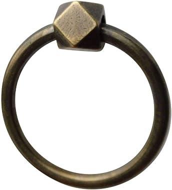 Ring Door Knocker, Antique Brass Anti-Rust Finish Household DoorKnocker Great for Drawer Wardrobe Door-Bronze-8.5x8.5cm(3x3In