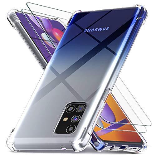 Ferilinso für Samsung Galaxy M31S Hülle + 2 Stück Panzerglas Schutzfolie [Transparent Silikon Handy Hüllen] [Stoßfest Kratzfest ] [Shock Absorption Schutzhülle] [Bumper Crystal]