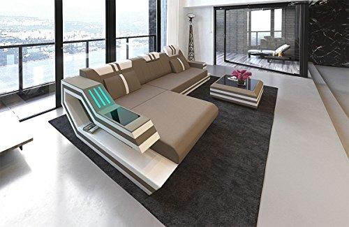 Sofa Dreams hoekbank Ravenna in stof als L-vorm met verlichting