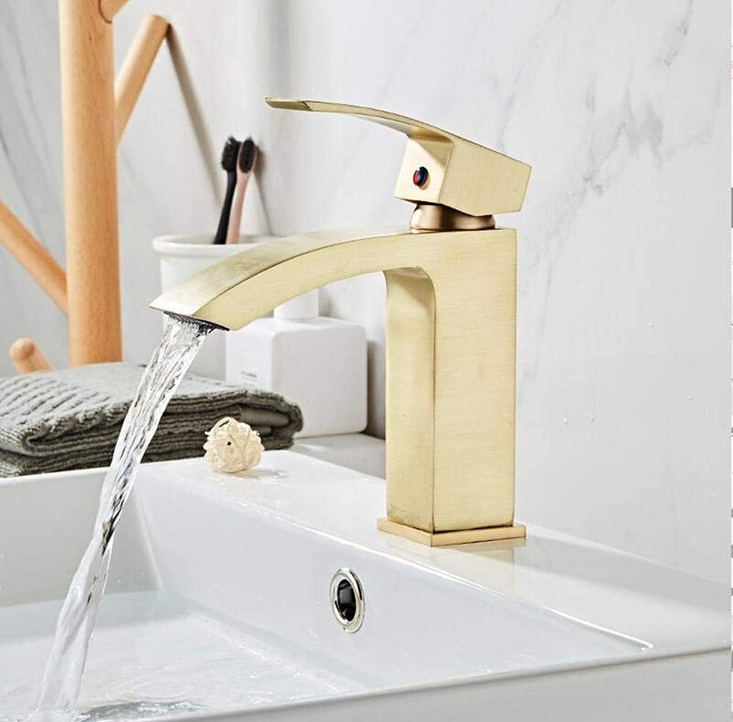Faucet Basin Basin Faucet Brass Sink Mixer Tap Bathroom Hot & Cold Waterfall Faucet Brushed gold Single Handle Deck Mounted Lavatory Crane
