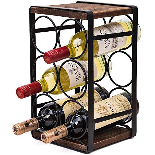 Estante de madera para mostrador de vino, soportes para vino de mesa estante de exhibición organizador de licor de botella de vino independiente rústico con capacidad para 6 botellas de vino estándar