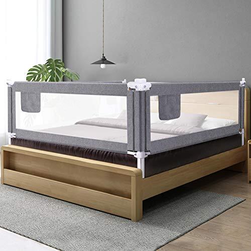 ZEHNHASE Barrera de cama para bebé 140CM, Barandilla de La Cama para Niños - Anticaídas, Altura ajustable, Fácil Instalación, gris, 1pc