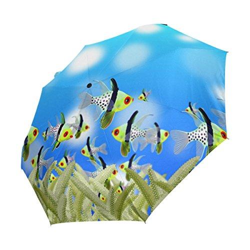 Ahomy - Paraguas Plegable de Viaje, Resistente al Viento, diseño de Peces...