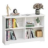 HOMCOM Estantería de Madera Librería Biblioteca de 4 Compartimentos con Baldas Ajustables para Libros Archivos 119,5x29,5x76,5 cm Blanco