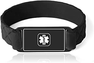 Personalized Stainless Steel & Silicone Medical Alert ID Awareness Bracelet for Boys and Girls 6-6.5 inch, Free Engraving