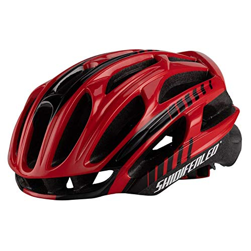 WangsCanis Fahrradhelm für Erwachsene, leichter Airflow-Fahrradhelm für Rennrad und Mountainbike (Rot, Schwarz, Einheitsgröße)