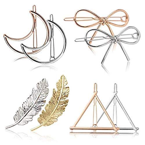 8pcs Pinces à Cheveux en Métal Épingles à Cheveux Feuille Triangle de Lune Papillon Classique Accessoires de Cheveux de Mariage