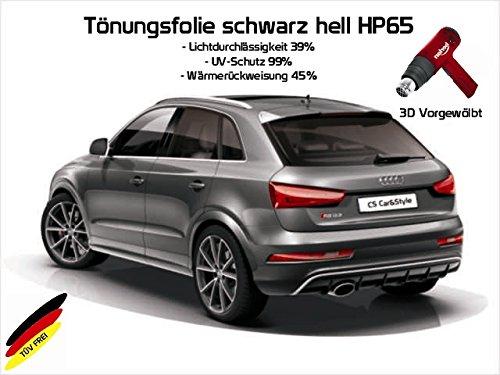 3 D Tönungsfolie passgenau vorgewölbt kompatibel mit Audi A3 8L 3-Türer BJ. 09/96-04/03 (hellschwarz HP 65 Lichtdurchlässigkeit 35% Wärmerückweisung 45%)