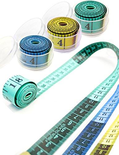HomeTools.eu - Profi Maßband 1,5m | Messen beim Schneidern | mit Aufbewahrungs-Behälter Box 1,5m 150cm, Gelb, 150 x 2 cm