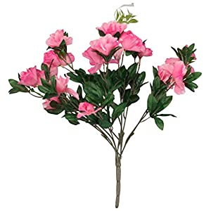 "OakRidge Silk Azalea Bush – Artificial Flowers Outdoor Décor – Pink, 17"" High"