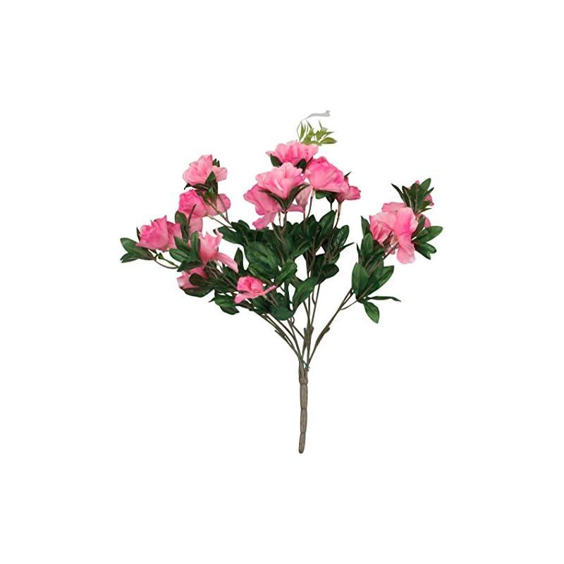 """silk flower arrangements oakridge silk azalea bush – artificial flowers outdoor décor – pink, 17"""" high"""