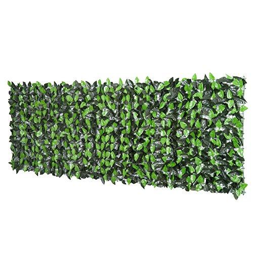 Outsunny Rotolo Siepe Sempreverde Artificiale Sintetica Finta 1×3m Balcone Recinzione Giardino