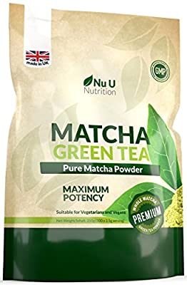 Matcha Green Tea Powder - Premium Grade 250g Double Size Pouch - UK Manufactured Matcha Tea Ultra Fine Easy To Mix Matcha Powder with High Antioxidant Rating - Perfect for Smoothies, Drinks and Baking - Vegan & Vegetarian Friendly – 100 Servings of Matcha