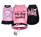 xsmall dog clothes - Ollypet Set of 5 Bulk Dog Clothes Dress Shirt Collar for Small Dogs Girl Accessories Puppy Cat Pink Pet Cute Summer Apparel Chihuahua Yorkie L