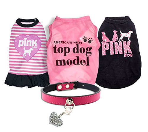 Ollypet Set of 5 Bulk Dog Clothes Dress Shirt Collar for Small Dogs Girl Accessories Puppy Cat Pink Pet Cute Summer Apparel Chihuahua Yorkie S