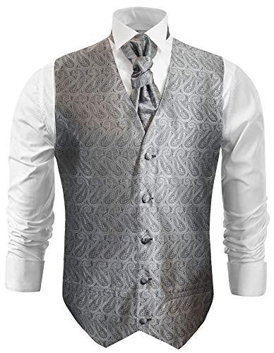 Paul Malone Hochzeitsweste Set 5tlg Silber grau Paisley - Hochzeit Herren Anzug Weste Gr. 46/48 XS