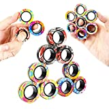 MBOUTrising 9Pcs Magnetic Ring Fidget Spinner Toys Set, Newest camo Fingers Magnet Rings, ADHD Stress Relief Magical Toys for Training Relieves Autism Anxiety, Great Gift for Adults Teens Kids