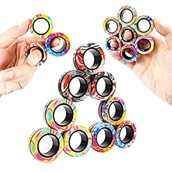 MBOUTrising 9Pcs Magnetic Ring Fidget Spinner Toys Set Newest camo Fingers Magnet Rings ADHD Stress Relief Magical Toys for Training Relieves Autism Anxiety Great Gift for Adults Teens Kids