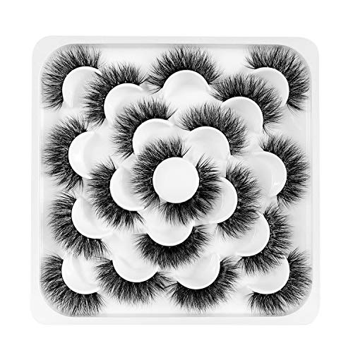 Newcally False Eyelashes 20MM Long Dramatic Thick Faux Lashes 10 Pairs Pack