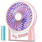 Mini Portable Battery Operated Desk Fan, Rechargeable & USB Powered Handheld Fan with Atmosphere Light & Flashlight, Strong Airflow, 3 Speeds, Small Personal Hand Held Fan for Desktop Camping, Pink