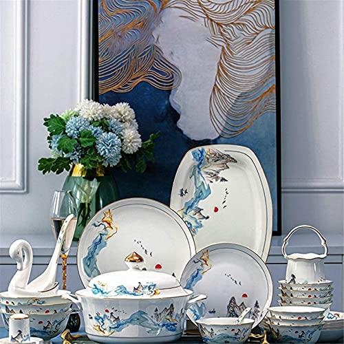 Juego de Platos, 60 unids - Conjuntos de vajilla para 10, hueso China Placa de estilo chino y conjuntos de tazones, plato de cena Conjunto de platos de taza de vajillas para tazas, plato de cena, hoga