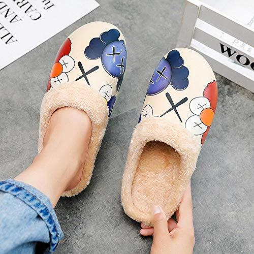 B/H Slip Home Zapatos para interiores y exteriores, lindos zapatos de algodón con puntera de terciopelo, zapatillas impermeables para interiores y exteriores, antideslizantes