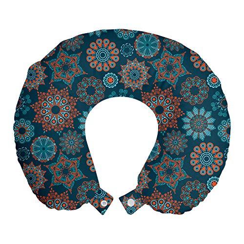 ABAKUHAUS Flor Cojín de Viaje para Soporte de Cuello, Ilustración de Verano, Cómoda y Práctica Funda Removible Lavable, 30x30 cm, Azul Oscuro Naranja