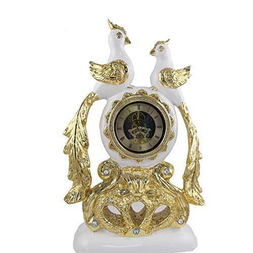 YIONGA CAIJINJIN Mantle Reloj Resina Doble Urraca Reloj/Creativa Inicio Sala de TV Cabinet Company Recepción del Reloj Adornos 36 * 9 * 53cm Delicado Hermosa