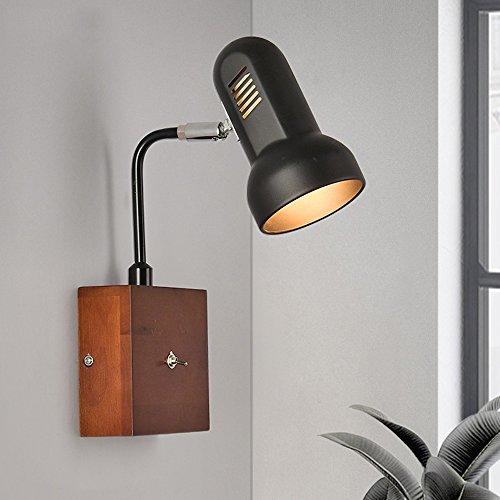 Nordic houten mode warm wandlicht woonkamer gang kamer bed studie hotel wandlamp met schakelaar metaal draaibaar wandlampen E27 * 1