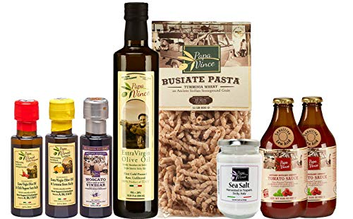 Papa Vince Food Gift Basket - made by our family in Sicily. Healthy Basket for Mother's Day, Birthdays, Family Parties, Housewarming. Authentic Flavor that will make an unforgettable impression