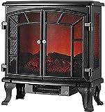 SONGYU Estufa eléctrica Chimenea Chimenea calefacción con Doble Puerta Abierta Infrarrojos eléctricos con Efecto Llama 3D Negro