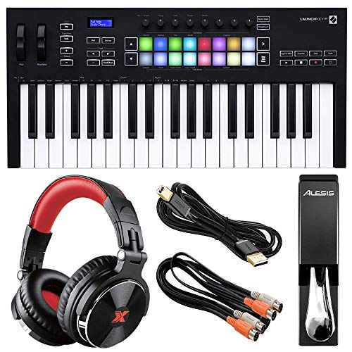 Novation Launchkey 37 MK3 USB MIDI Keyboard Controller (37-Key) with XPIX Pro DJ Headphones, Alesis ASP-2 Universal Piano-Style Sustain Pedal, and Essential Accessories