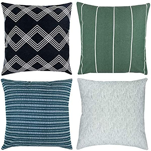 Woven Nook Decorative Throw Pillow Covers ONLY For Couch Sofa Or Bed Set Of 4 18 X 18 Inch Modern Quality Design 100 Cotton Green Black White Blue Kennedy Set