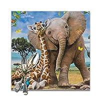 キリンと象 ランチョンマット 食卓マット プレースマット おしゃれ 防汚 滑り止め 撥水 断熱 飾り お手入れ簡単 30 X 30cm 6枚セット
