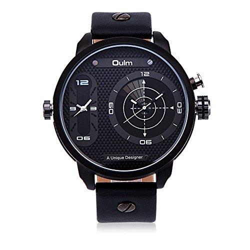 iLove EU Herren Armbanduhr Japanisches Quarz Analog Radar Dual-Bewegung Doppel Zeitzonen Leder Armband Uhr mit Weiß Uhrzeiger