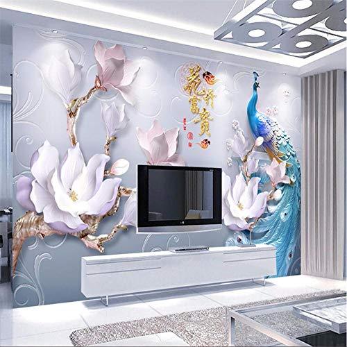 Fototapete Wandbild Hintergrund 3d TapetenBenutzerdefinierte Wandbild 3d Foto Tapete geprägte Blumen reich moderne moderne minimalistische Pfau Hintergrund Wände dekorative Tapete-Über 400 * 280 cm