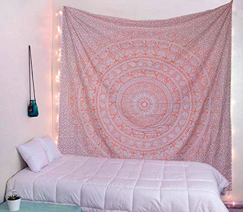 raajsee Indisch Psychedelic Wandteppich Mandala Glänzend Gold weiß, Elefant Boho Wandtuch Hippie Twin 210x220 cm,Golden Decke Wandbehang,/Beach Tapestry Yoga Meditation Mat