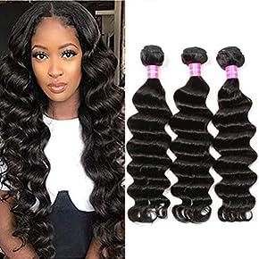 Symorain Brazilian Human Hair Loose Deep Wave Bundles 100% Virgin Human Hair Loose Deep Curly Weave Bundles Natural Color