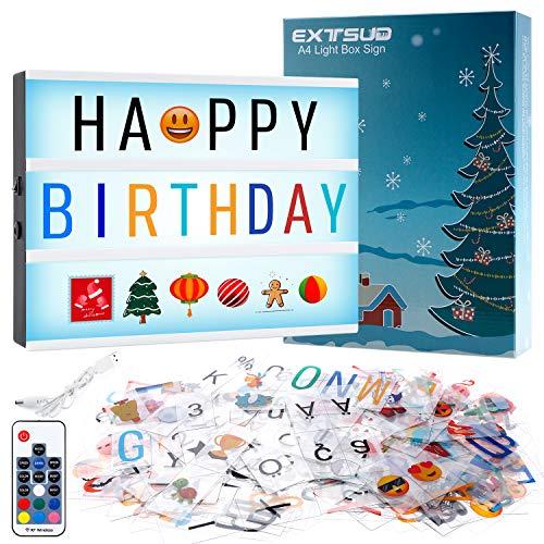 EXTSUD Boîte Lumineuse LED A4 Boîte à Lumière Message 454 Lettres et Symboles Emoji, 7 Couleurs d'éclairage avec Télécommande, Tableau Lumineux Cinéma Décoration pour Noël Mariage Anniversaire Fête