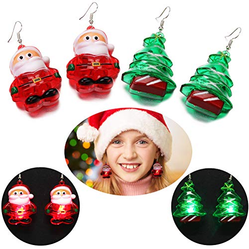 Cute LED Christmas Earrings,Aniwon 2PCS Fashion Christmas Tree Santa Claus Drop Earrings for Women Kids Girls Light Up Earrings Gifts Jewelry