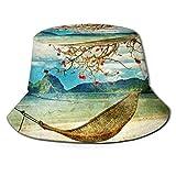 Bucket Hat Packable Reversible Tropical Scene Print Sombrero para el Sol Sombrero de Pescador Gorra Acampar al Aire Libre