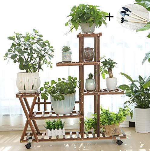 Wooden Plant Stand Shelf 5 Tier Flower Pot Holder Display Multi-Shelvings Storage Rack for Plants Displaying Home Garden Patio Corner Outdoor Indoor (with Wheels)