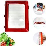 Farzeo Stapelbox Kühlschrank, Tablett Essen Kunststoff Erhaltung Lebensmittelkonservierung Tablett Platzsparend Stapelbar Wiederverwendbar Mit Elastischen Film (2Pcs)