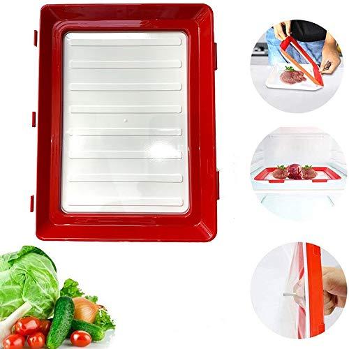 Stapelen Box Koelkast, Tray Voedsel Plastic Preservation Conservering Tray Ruimtebesparend Stackable Herbruikbare Met Elastische Film (2 Stuks)