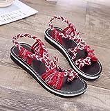 FAYHRH Interior al Aire Libre Verano Zapatillas,Sandalias Planas de Verano, Zapatos de Playa para Mujer a Juego de Color-Red_43