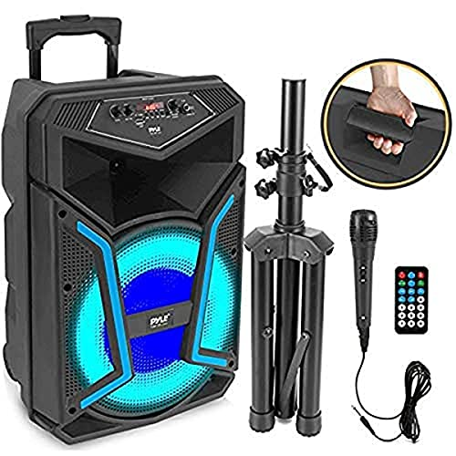 Portable Bluetooth PA Speaker System-800W Outdoor Bluetooth Speaker Portable PA System w/Microphone in, Party Lights, MP3/USB SD Card Reader, FM Radio, Rolling Wheels-Mic, Remote-Pyle PPHP122SM.5