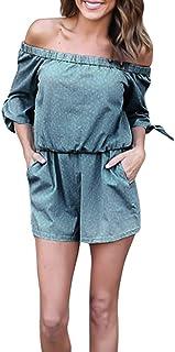 Uamaze ファッション女性スラッシュネックセクシーウエストストライプジャンプスーツ、夏/春のエレガントなスリム作業パーティーの仕事とカジュアルな結婚式のゲスト